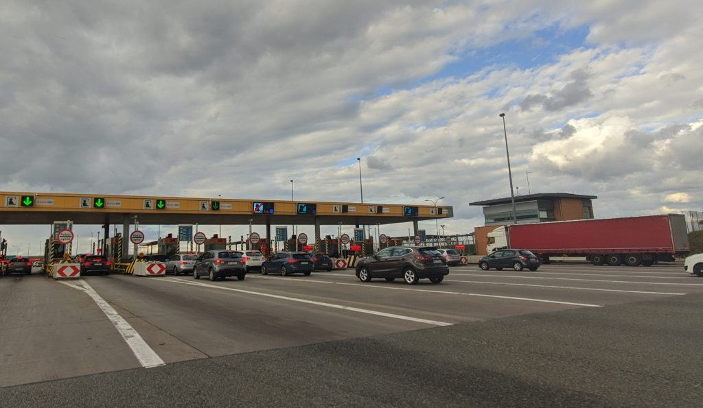 Toll gate on highway in Poland