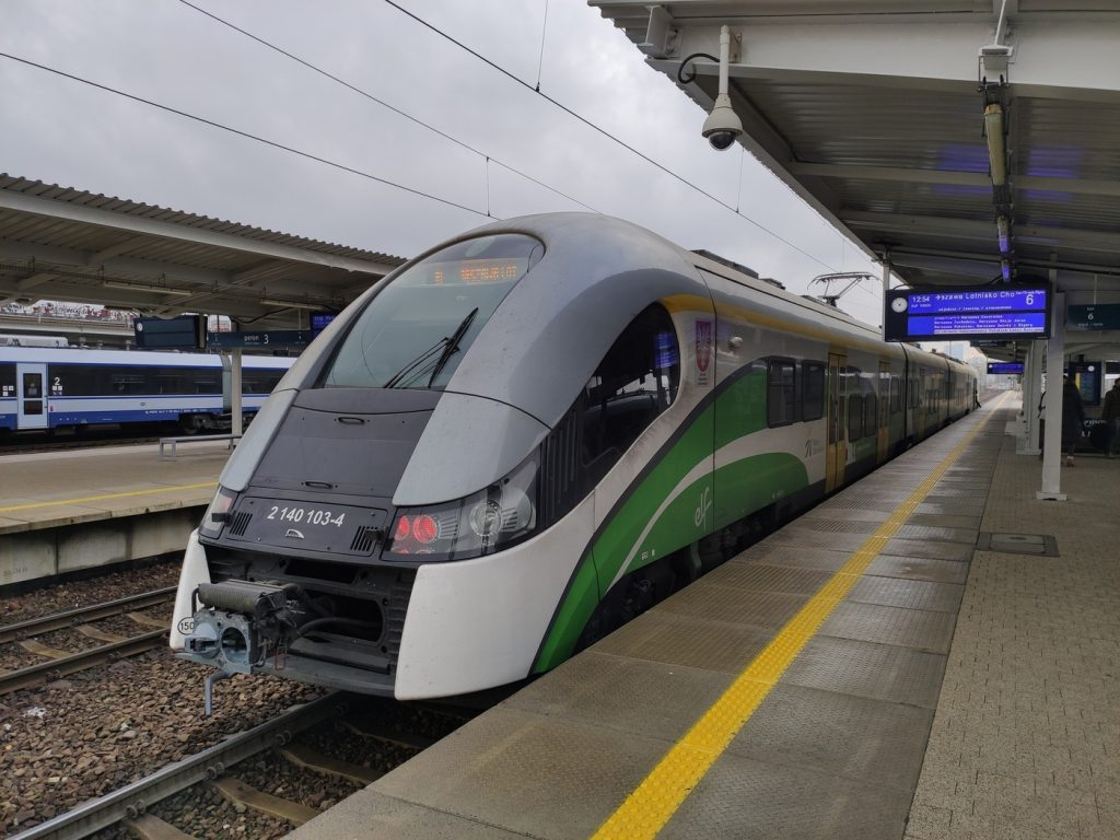Koleje Mazowieckie trains run from Warsaw Airport to city centre